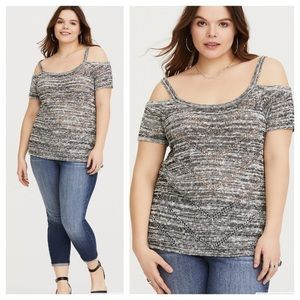 Torrid Gray Cold Shoulder Marled Sweater Top 3